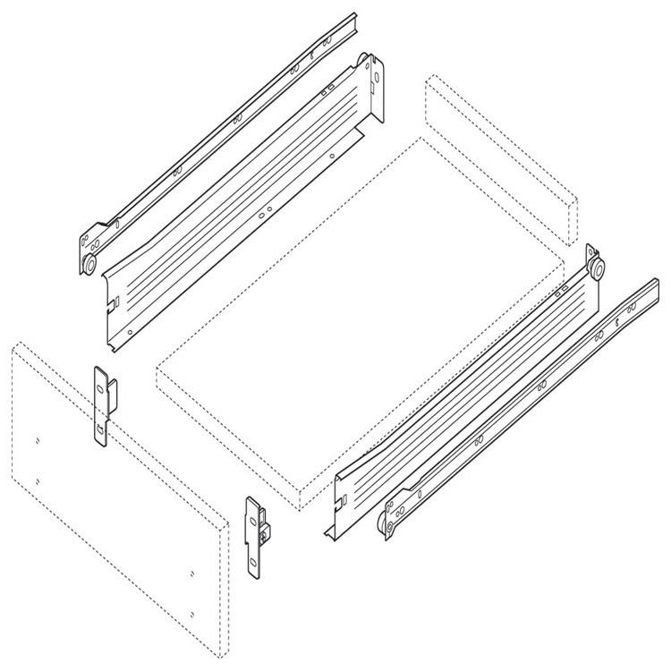 Blum 320N4000C15 16in METABOX 320N Slide, 2in Side Height, 3/4 Ext :: Image 180