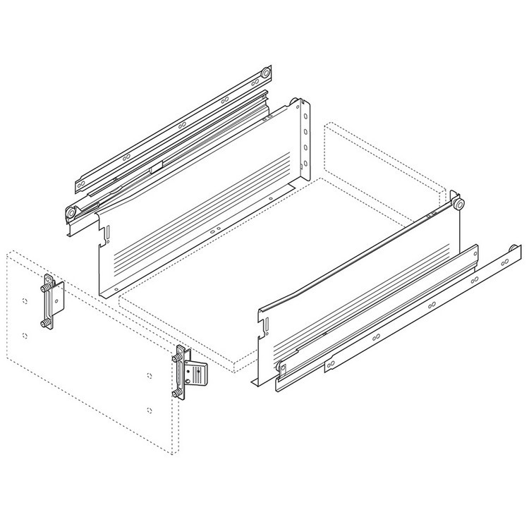 Blum 330H400PC15 16in METABOX 330H Slide, 6in Side Height, Full Ext :: Image 140