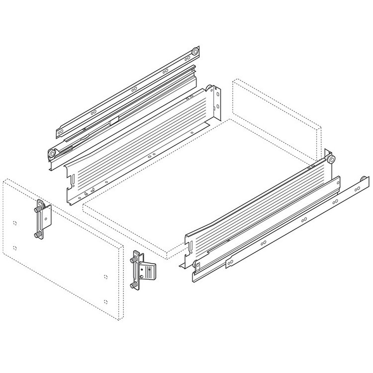 Blum 330M400PC15 16in METABOX 330M Slide, 4in Side Height, Full Ext :: Image 180