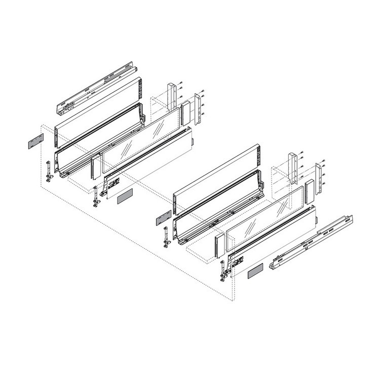 Blum ZSF.5220 TANDEMBOX Front Fixing Bracket, Screw-on, Zinc :: Image 100