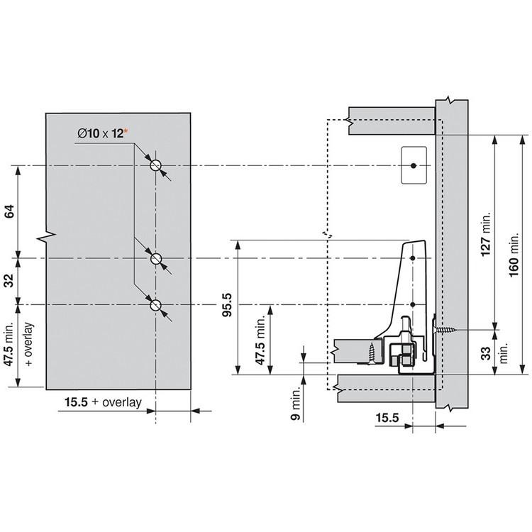 Blum ZSF.3502.02 TANDEMBOX Front Fixing Bracket, Screw-on, Zinc :: Image 170