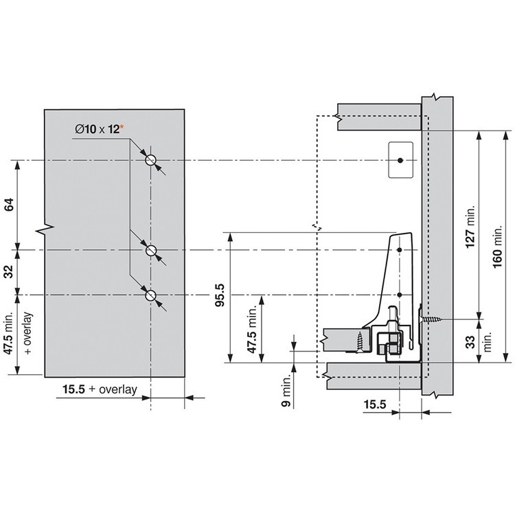 Blum ZSF.3502.02 TANDEMBOX Front Fixing Bracket, Screw-on, Zinc :: Image 280