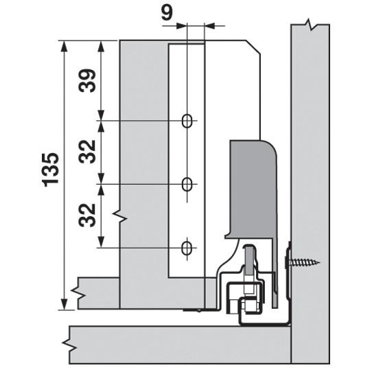 Blum Z30B000S.04 TANDEMBOX Rear Fixing Bracket, B Height, White Aluminum/Gray :: Image 60