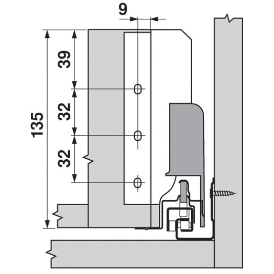 Blum Z30B000S.04 TANDEMBOX Rear Fixing Bracket, B Height, White Aluminum/Gray :: Image 30
