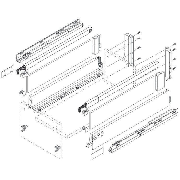"BLUM ZRG.437RSIC 20"" Top Gallery Rail Set (Right & Left), 500mm, Gray :: Image 50"