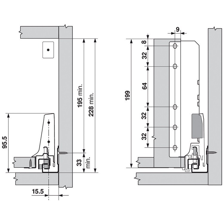 Blum ZIF.75D0.US TANDEMBOX Interior Front Fixing Bracket Set (Right & Left), Medium Side, Dust Gray :: Image 30