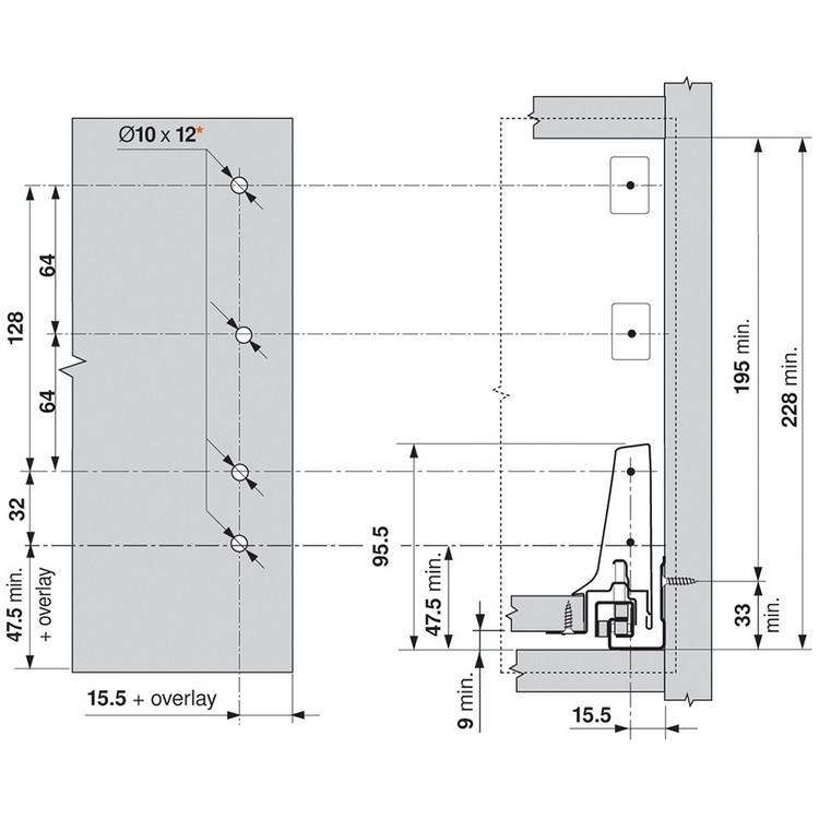 Blum ZSF.3502.02 TANDEMBOX Front Fixing Bracket, Screw-on, Zinc :: Image 210