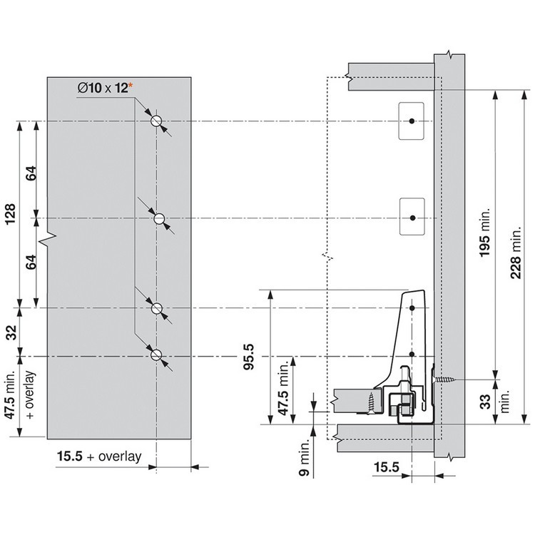 Blum ZSF.3502.02 TANDEMBOX Front Fixing Bracket, Screw-on, Zinc :: Image 320