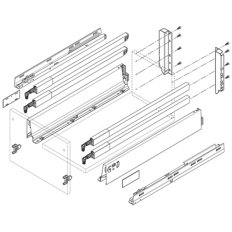 """BLUM ZRG.337RIIE 18"""" TANDEMBOX Center Gallery Rail Set (Right & Left), 450mm, Stainless Steel :: Image 30"""