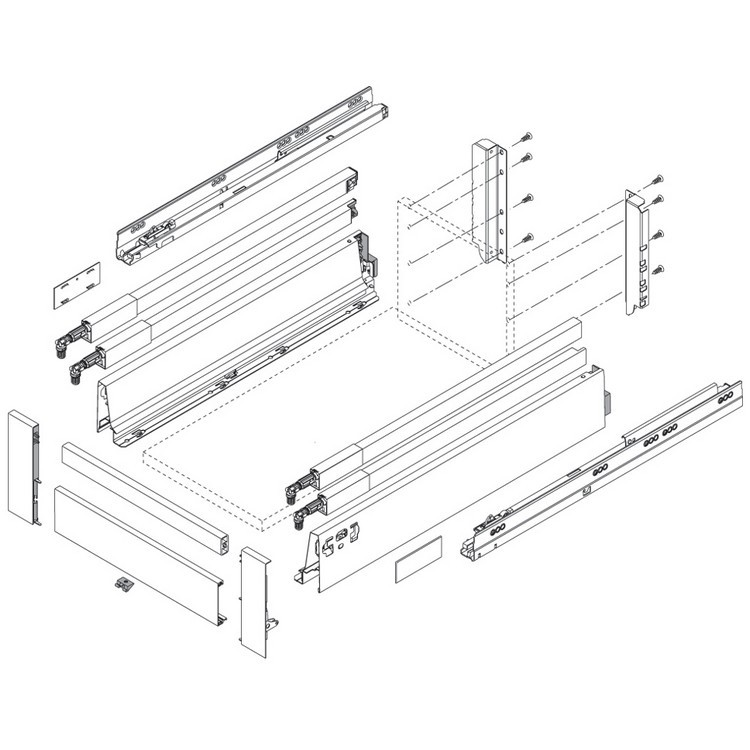 """BLUM ZRG.337RIIE 18"""" TANDEMBOX Center Gallery Rail Set (Right & Left), 450mm, Stainless Steel :: Image 40"""