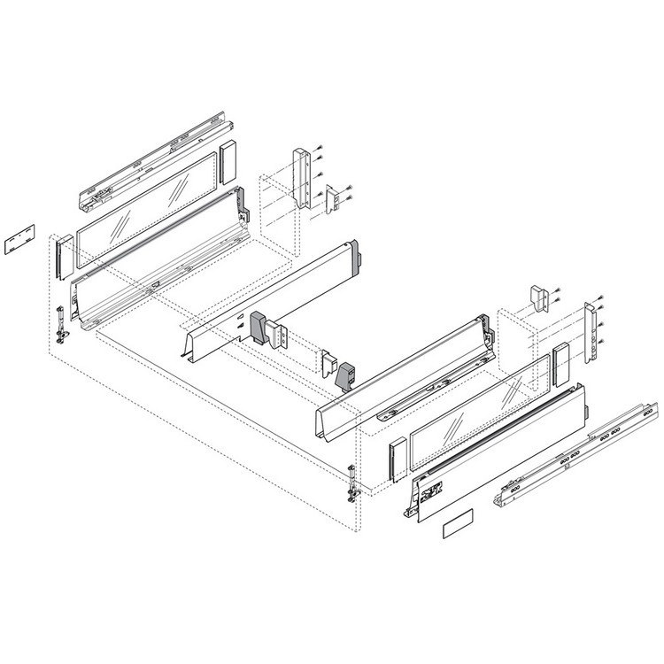 Blum Z30N0002.6ZA TANDEMBOX Center Adapter Set, Dust Gray :: Image 100