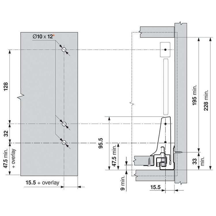 Blum ZSF.3502.02 TANDEMBOX Front Fixing Bracket, Screw-on, Zinc :: Image 300