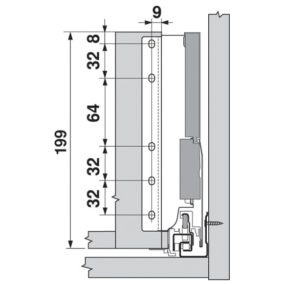 Blum Z30D000SL TANDEMBOX Rear Fixing Bracket Set (Right & Left), Gray :: Image 60