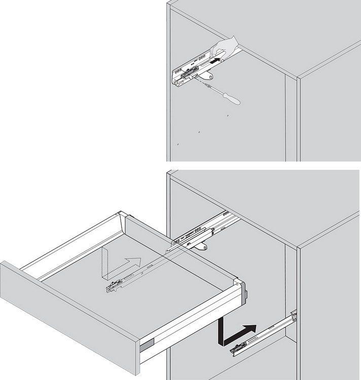 "Blum TANDEMBOX Drawer System 559.5501T-R-L 22"" Steel TANDEMBOX Intivo with TIP-ON/Lock Mechanism, Zinc :: Image 50"