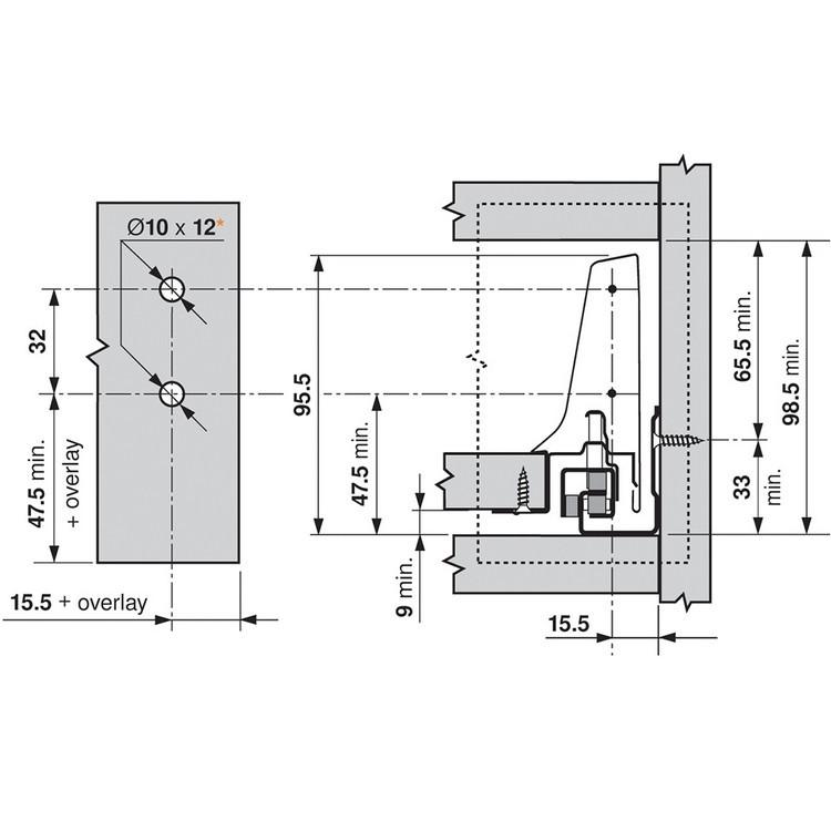 Blum ZSF.3902 TANDEMBOX Front Fixing Bracket, Inserta, Zinc :: Image 150