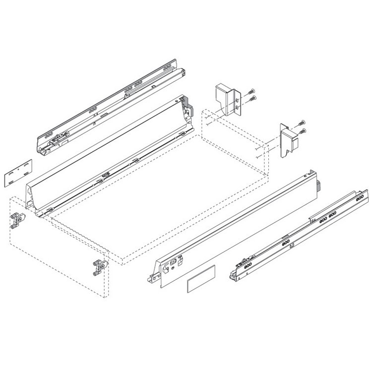 """Blum 358N5502SA 22"""" TANDEMBOX 358N Drawer Side, 2-3/4 Height, Gray, Set (Right & Left) :: Image 20"""