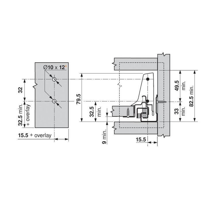 Blum ZSF.3502.02 TANDEMBOX Front Fixing Bracket, Screw-on, Zinc :: Image 130