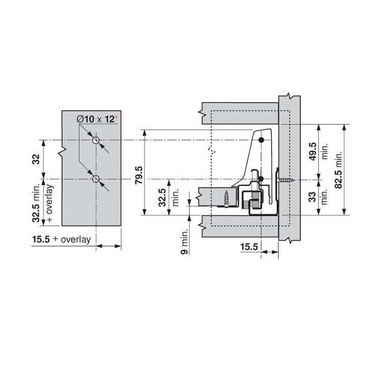 Blum ZSF.3502.02 TANDEMBOX Front Fixing Bracket, Screw-on, Zinc :: Image 240