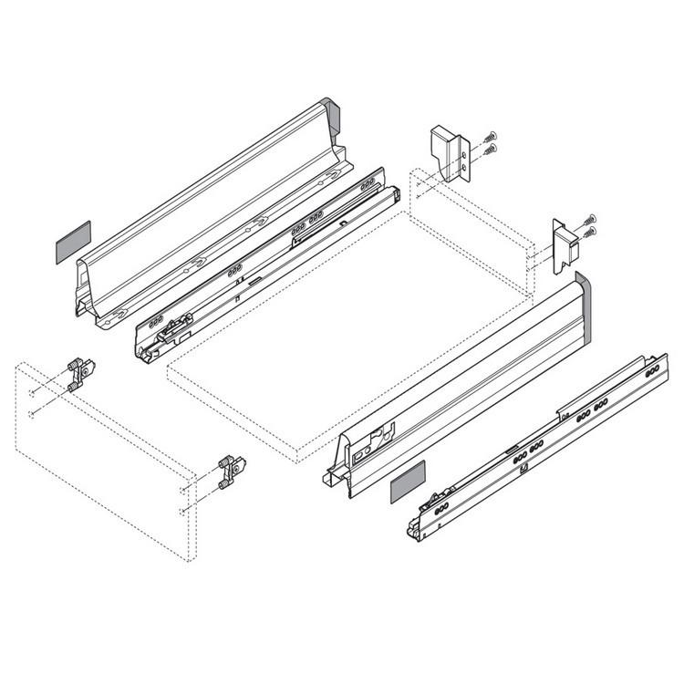 Blum ZSF.3902 TANDEMBOX Front Fixing Bracket, Inserta, Zinc :: Image 10