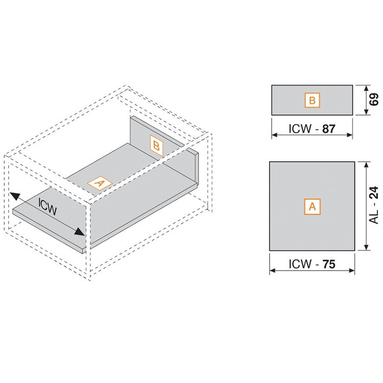 """Blum 358N5502SA 22"""" TANDEMBOX 358N Drawer Side, 2-3/4 Height, Gray, Set (Right & Left) :: Image 30"""