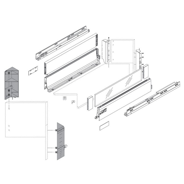Blum ZSF.535E.D TANDEMBOX Space Corner Set (Front & Rear Brackets), D Height with Design Elements, Dust Gray/Nickel :: Image 30