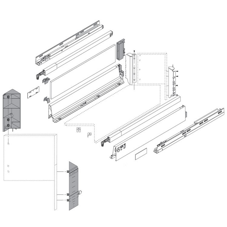 Blum ZSF.345E.D1 TANDEMBOX Space Corner Set (Front & Rear Brackets), D Height, Dust Gray/Nickel :: Image 20