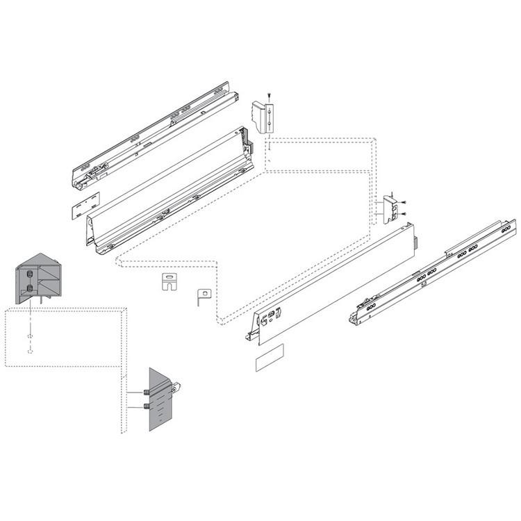 Blum ZSF.340E.M1 TANDEMBOX Corner Set (Front & Rear Brackets), White Aluminum/Gray :: Image 10