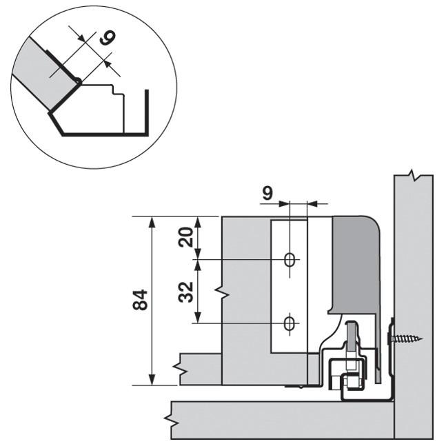 Blum ZSF.340E.M1 TANDEMBOX Corner Set (Front & Rear Brackets), White Aluminum/Gray :: Image 30