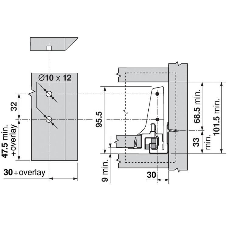 Blum ZSF.340E.M1 TANDEMBOX Corner Set (Front & Rear Brackets), White Aluminum/Gray :: Image 50