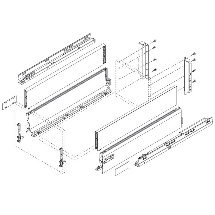 "Blum 358L5502IA2 22"" TANDEMBOX 358L Drawer Side, Stainless Steel, Set (Right & Left) :: Image 60"