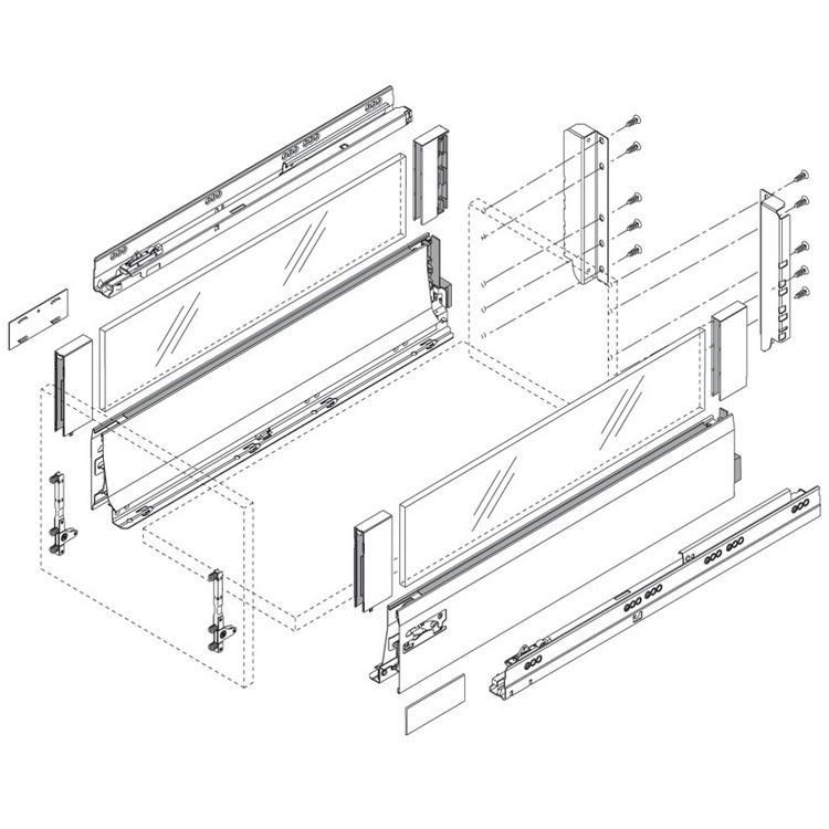 "Blum 358L5502IA2 22"" TANDEMBOX 358L Drawer Side, Stainless Steel, Set (Right & Left) :: Image 50"