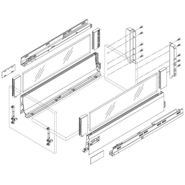 Blum Z30D000SL TANDEMBOX Rear Fixing Bracket Set (Right & Left), Gray :: Image 40