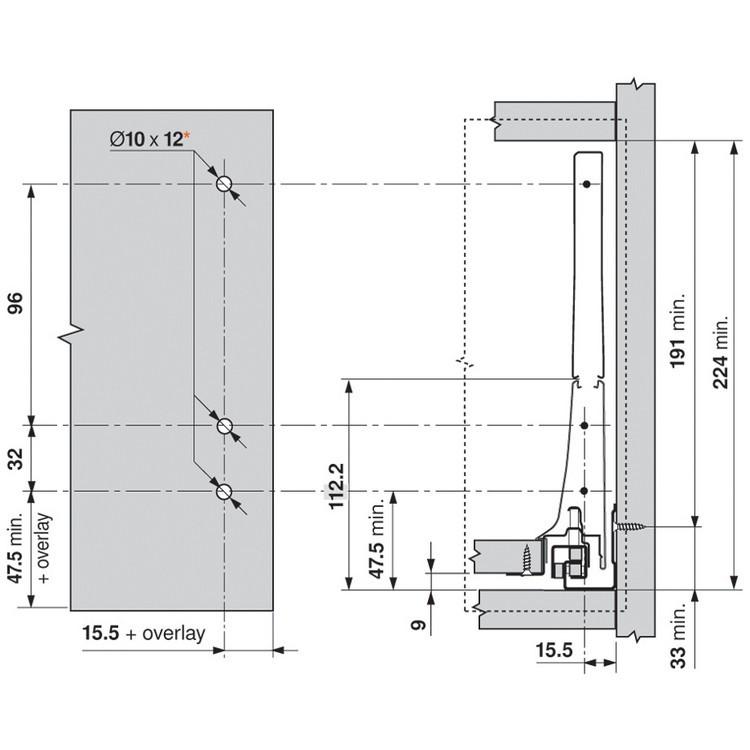 Blum ZSF.532E TANDEMBOX Front Fixing Bracket, EXPANDO, Zinc :: Image 20