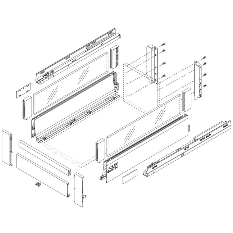 Blum Z31L1036A TANDEMBOX Front Piece for Interior Roll-out, 1036mm, Nickel :: Image 110