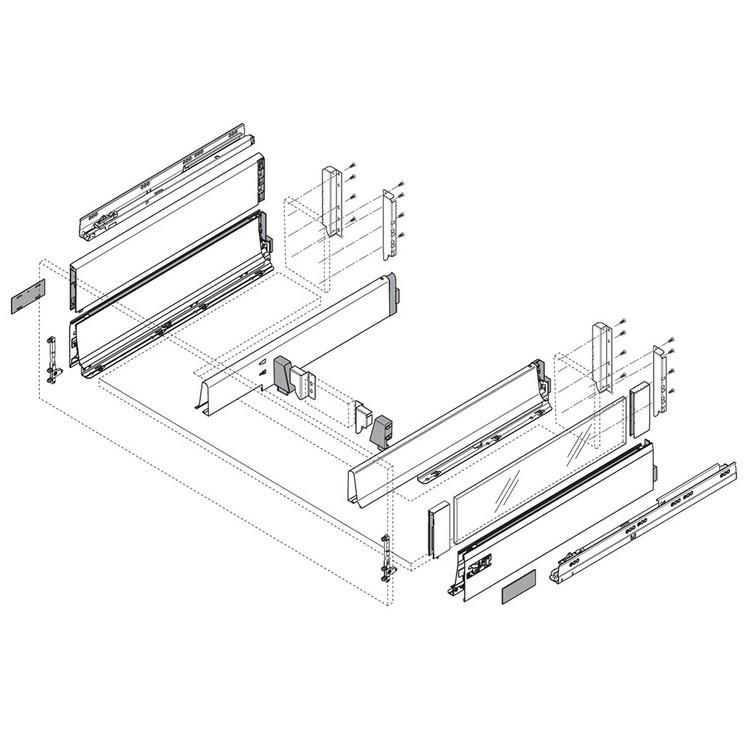 Blum ZSF.532E TANDEMBOX Front Fixing Bracket, EXPANDO, Zinc :: Image 140