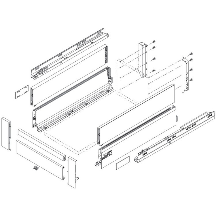 "Blum 358L5502IA2 22"" TANDEMBOX 358L Drawer Side, Stainless Steel, Set (Right & Left) :: Image 80"