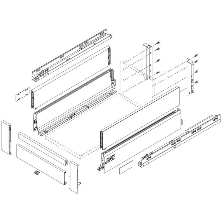Blum Z30D000SL TANDEMBOX Rear Fixing Bracket Set (Right & Left), Gray :: Image 80