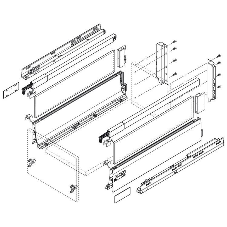 Blum ZSF.3502.02 TANDEMBOX Front Fixing Bracket, Screw-on, Zinc :: Image 330