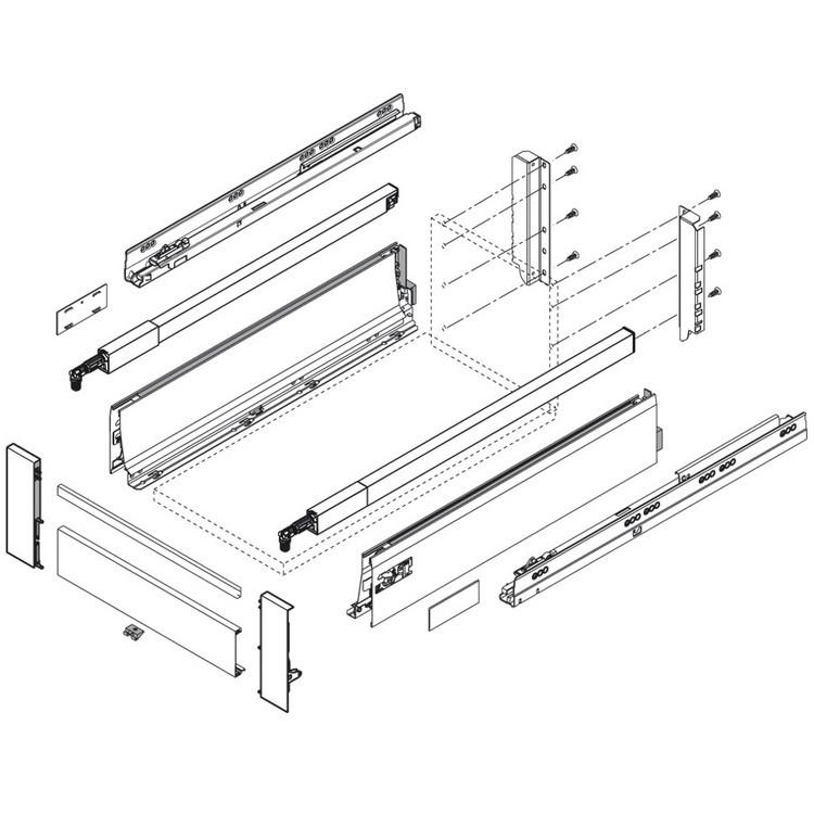 Blum ZIF.75D0.US TANDEMBOX Interior Front Fixing Bracket Set (Right & Left), Medium Side, Dust Gray :: Image 20