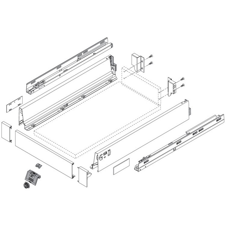 "Blum 358M5002SA 20"" TANDEMBOX 358M Drawer Side, 3-3/8 Height, Gray, Set (Right & Left) :: Image 100"