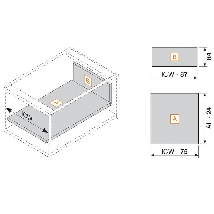 """Blum 358M3502SA 14"""" TANDEMBOX 358M Drawer Side, 3-3/8 Height, Gray, Set (Right & Left) :: Image 50"""