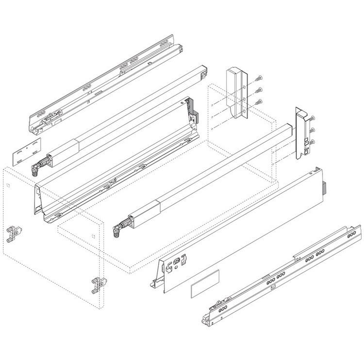 Blum Z30B000S.04 TANDEMBOX Rear Fixing Bracket, B Height, White Aluminum/Gray :: Image 50