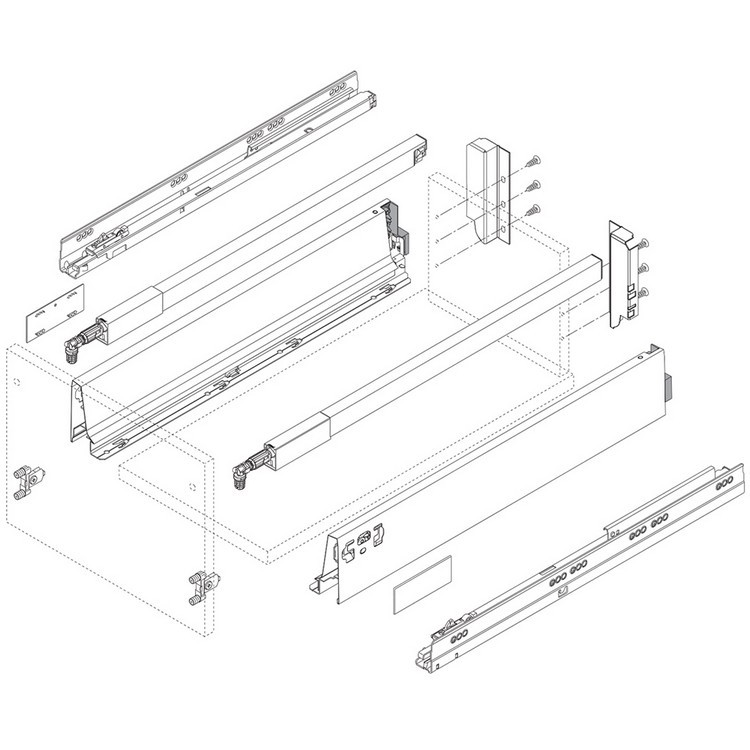 "Blum 358M5002SA 20"" TANDEMBOX 358M Drawer Side, 3-3/8 Height, Gray, Set (Right & Left) :: Image 40"