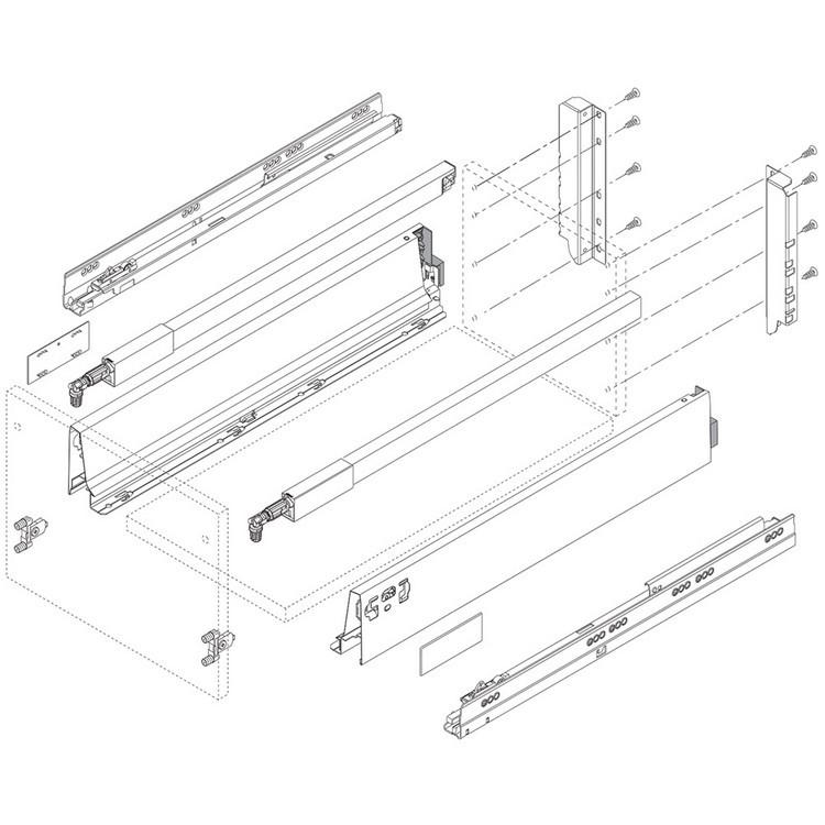Blum ZSF.3902 TANDEMBOX Front Fixing Bracket, Inserta, Zinc :: Image 180
