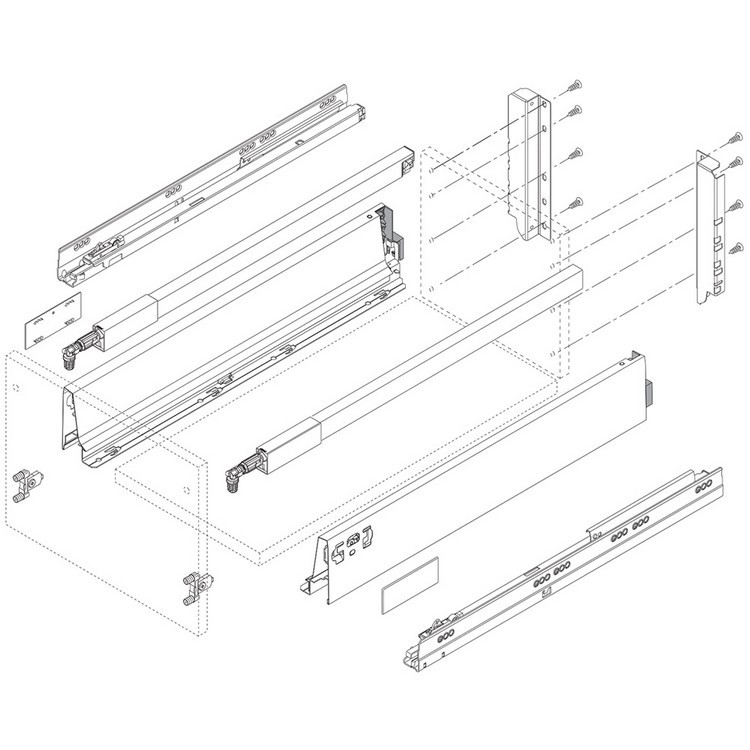 "BLUM ZRG.587RSIC 26"" Top Gallery Rail Set (Right & Left), 650mm, Gray :: Image 30"