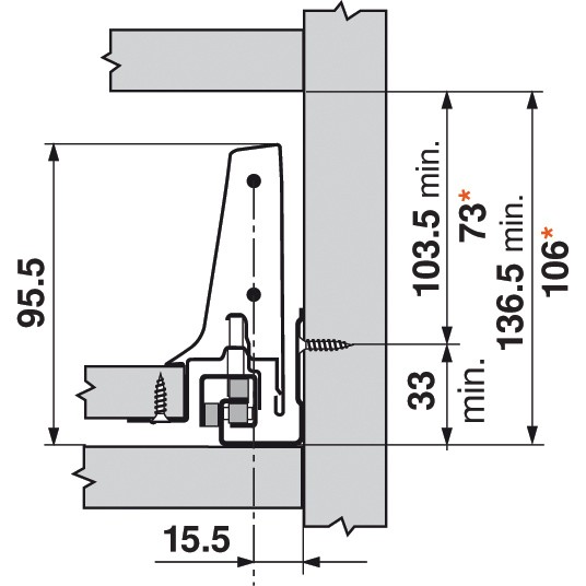 Blum Z30M000S.04 TANDEMBOX Rear Fixing Bracket, Gray :: Image 50