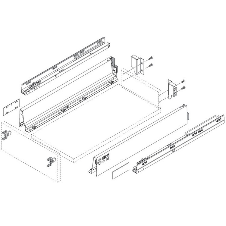 "Blum 358M5002SA 20"" TANDEMBOX 358M Drawer Side, 3-3/8 Height, Gray, Set (Right & Left) :: Image 20"