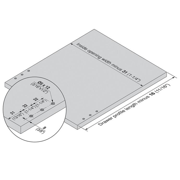 Blum 320N5500C15 22in METABOX 320N Slide, 2in Side Height, 3/4 Ext :: Image 120