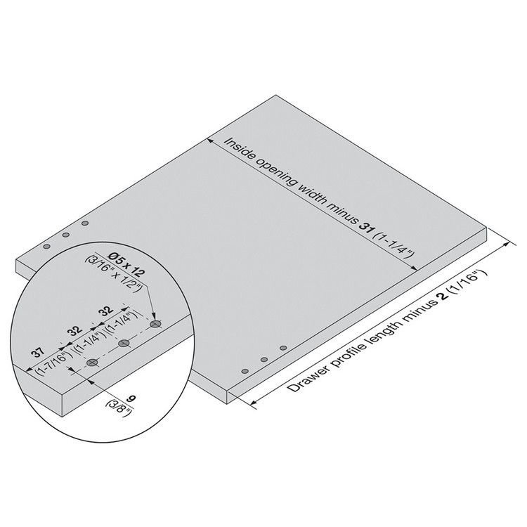 Blum 320K5000C15 20in METABOX 320K Slide, 5in Side Height, 3/4 Ext :: Image 50