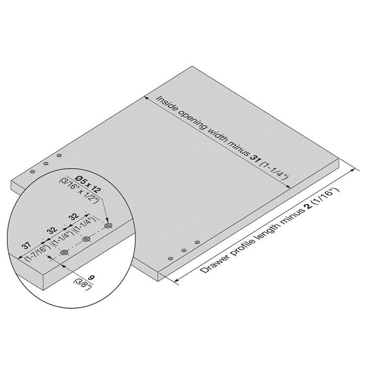 Blum 320K5500C15 22in METABOX 320K Slide, 5in Side Height, 3/4 Ext :: Image 140